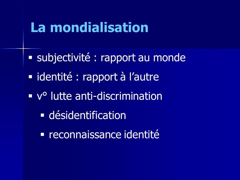 subjectivité : rapport au monde identité : rapport à lautre v° lutte anti-discrimination désidentification reconnaissance identité La mondialisation