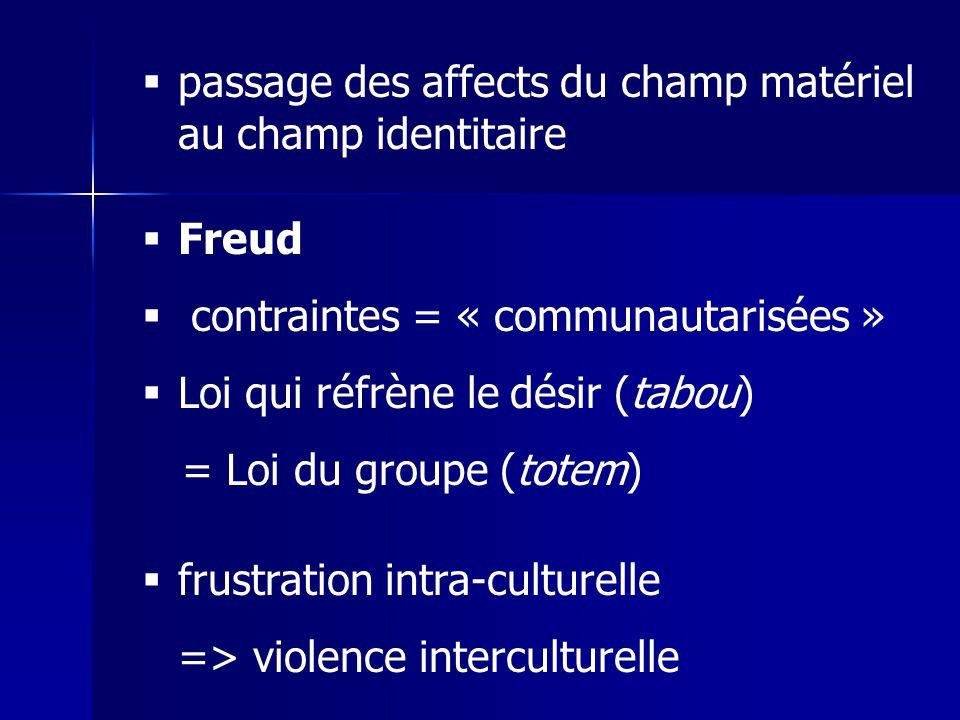 passage des affects du champ matériel au champ identitaire Freud contraintes = « communautarisées » Loi qui réfrène le désir (tabou) = Loi du groupe (totem) frustration intra-culturelle => violence interculturelle
