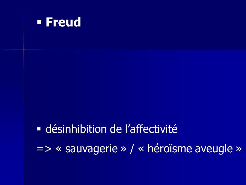 Freud désinhibition de laffectivité => « sauvagerie » / « héroïsme aveugle »