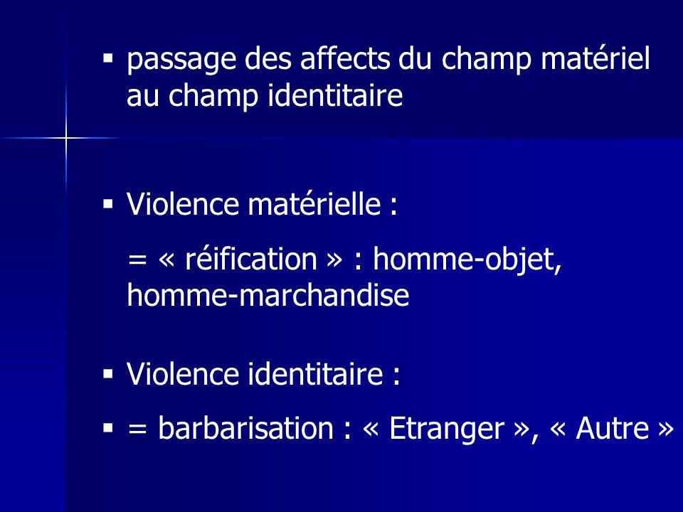 passage des affects du champ matériel au champ identitaire Violence matérielle : = « réification » : homme-objet, homme-marchandise Violence identitaire : = barbarisation : « Etranger », « Autre »