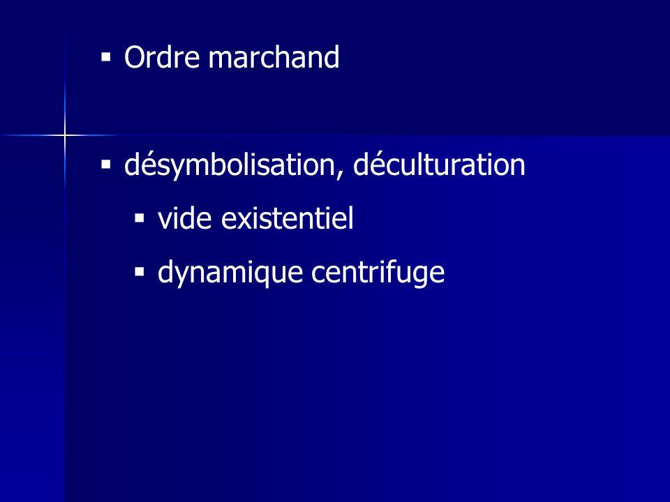 Ordre marchand désymbolisation, déculturation vide existentiel dynamique centrifuge