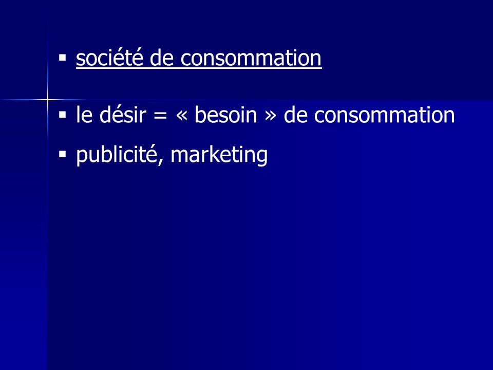 société de consommation le désir = « besoin » de consommation publicité, marketing