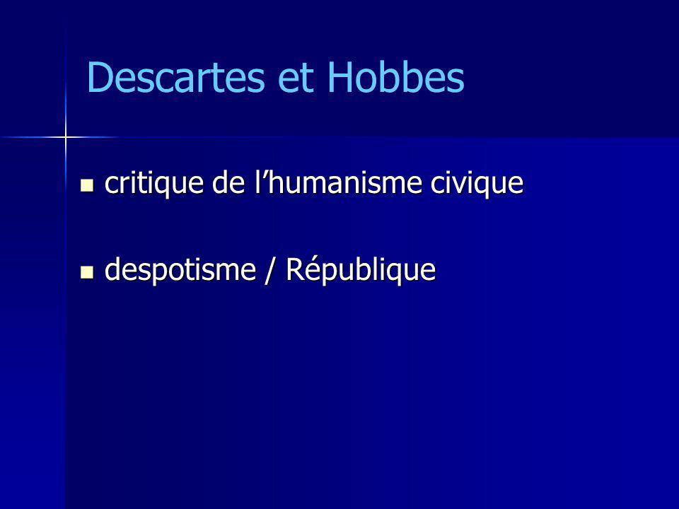 critique de lhumanisme civique critique de lhumanisme civique despotisme / République despotisme / République Descartes et Hobbes