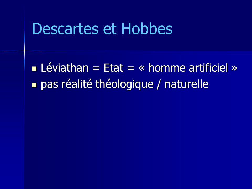 Léviathan = Etat = « homme artificiel » Léviathan = Etat = « homme artificiel » pas réalité théologique / naturelle pas réalité théologique / naturell
