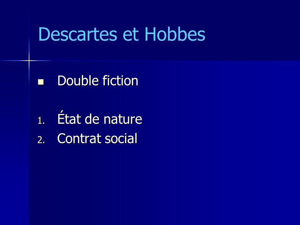 Double fiction Double fiction 1. État de nature 2. Contrat social Descartes et Hobbes