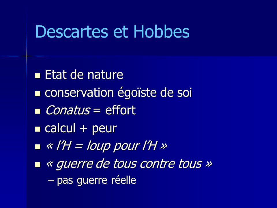 Etat de nature Etat de nature conservation égoïste de soi conservation égoïste de soi Conatus = effort Conatus = effort calcul + peur calcul + peur «