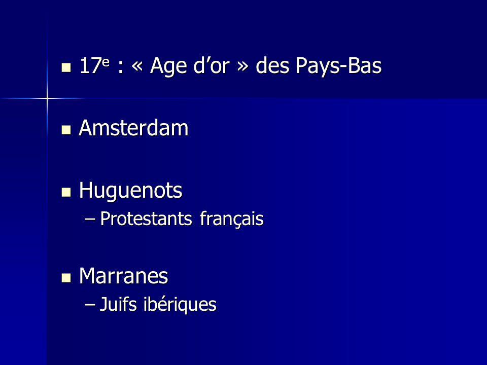 17 e : « Age dor » des Pays-Bas 17 e : « Age dor » des Pays-Bas Amsterdam Amsterdam Huguenots Huguenots –Protestants français Marranes Marranes –Juifs