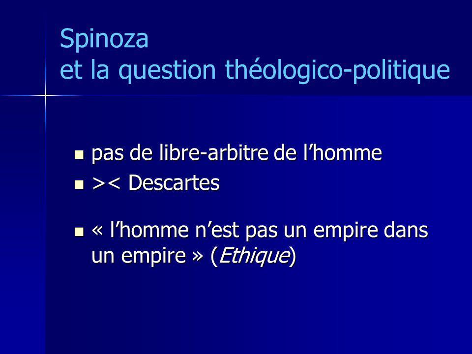 Spinoza et la question théologico-politique pas de libre-arbitre de lhomme pas de libre-arbitre de lhomme > < Descartes « lhomme nest pas un empire da