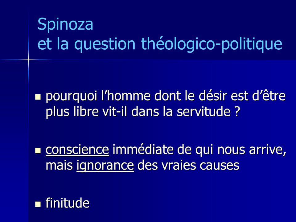 Spinoza et la question théologico-politique pourquoi lhomme dont le désir est dêtre plus libre vit-il dans la servitude ? pourquoi lhomme dont le dési
