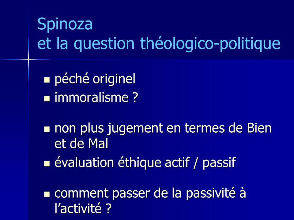 Spinoza et la question théologico-politique péché originel péché originel immoralisme ? immoralisme ? non plus jugement en termes de Bien et de Mal no