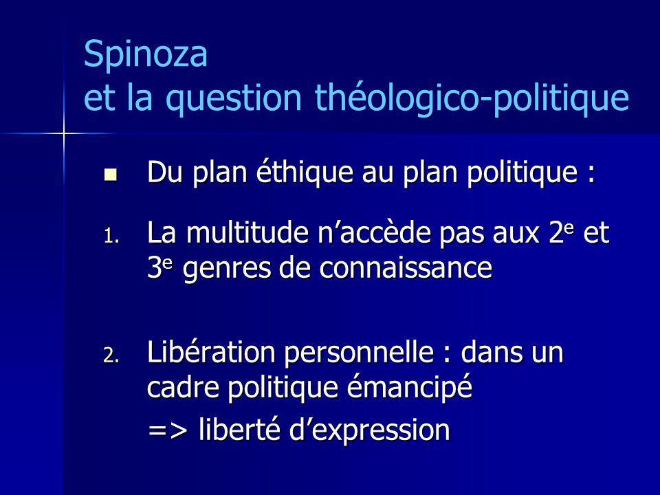 Spinoza et la question théologico-politique Du plan éthique au plan politique : Du plan éthique au plan politique : 1. La multitude naccède pas aux 2