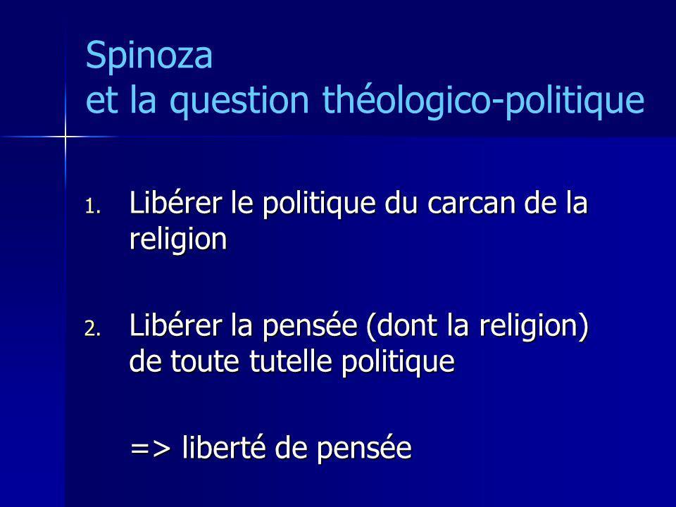Spinoza et la question théologico-politique 1. Libérer le politique du carcan de la religion 2. Libérer la pensée (dont la religion) de toute tutelle