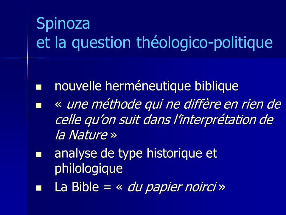 Spinoza et la question théologico-politique nouvelle herméneutique biblique nouvelle herméneutique biblique « une méthode qui ne diffère en rien de ce