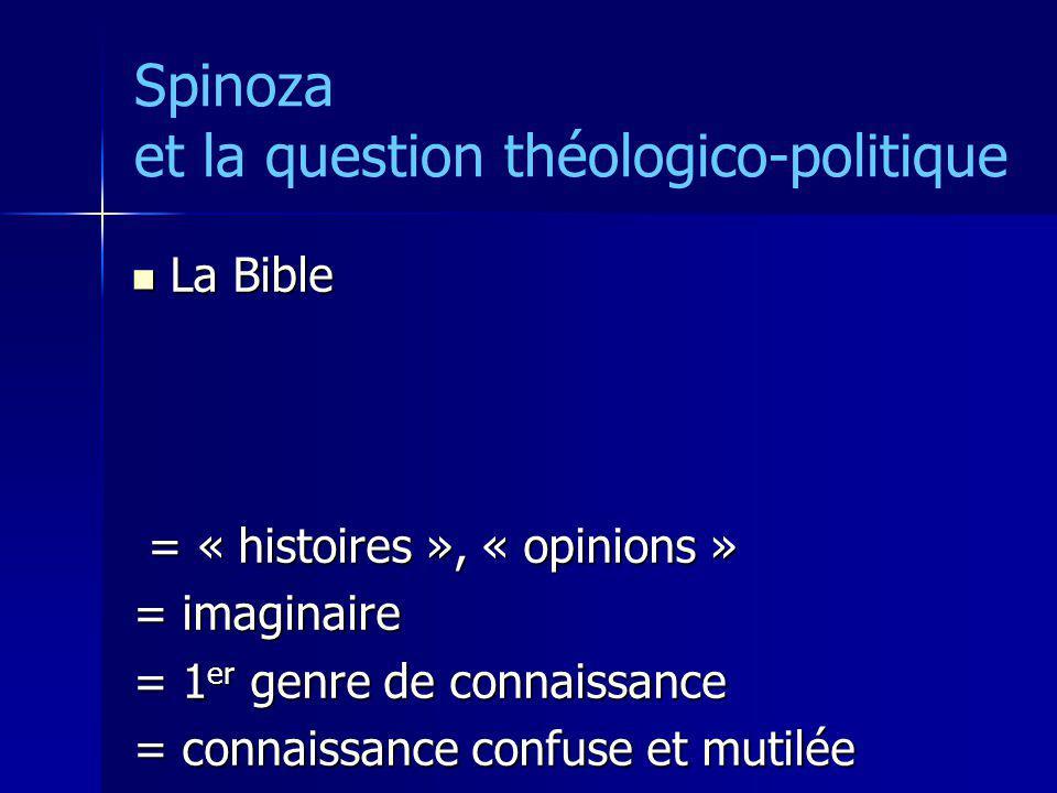 Spinoza et la question théologico-politique La Bible La Bible = « histoires », « opinions » = « histoires », « opinions » = imaginaire = 1 er genre de