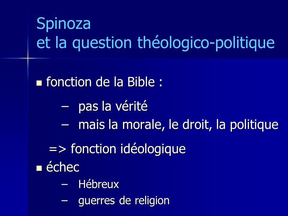 Spinoza et la question théologico-politique fonction de la Bible : fonction de la Bible : –pas la vérité –mais la morale, le droit, la politique => fo