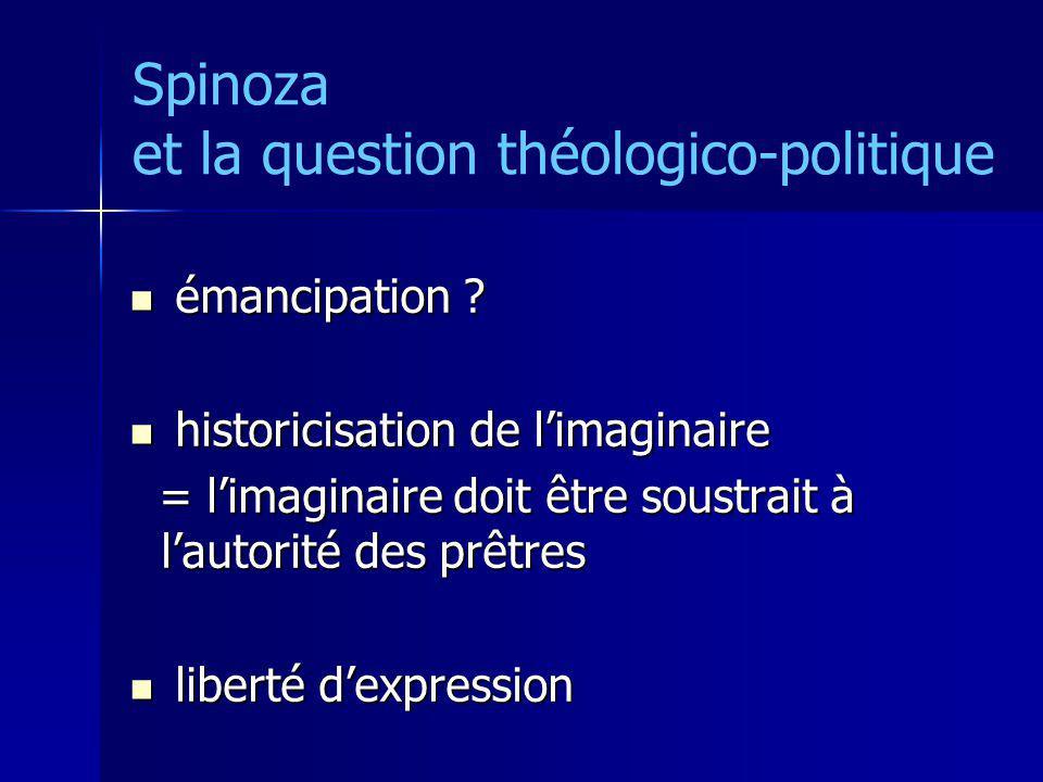 Spinoza et la question théologico-politique émancipation ? émancipation ? historicisation de limaginaire historicisation de limaginaire = limaginaire