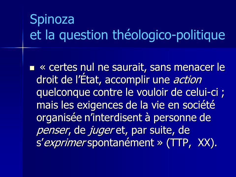 Spinoza et la question théologico-politique « certes nul ne saurait, sans menacer le droit de lÉtat, accomplir une action quelconque contre le vouloir