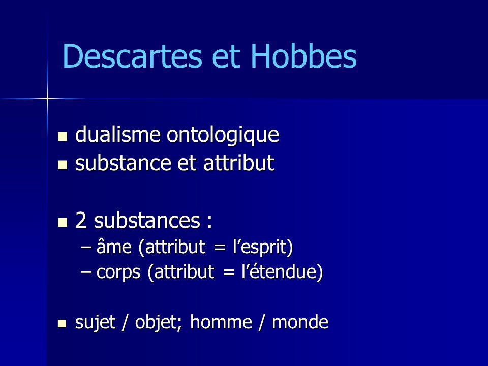 Descartes et Hobbes dualisme ontologique dualisme ontologique substance et attribut substance et attribut 2 substances : 2 substances : –âme (attribut