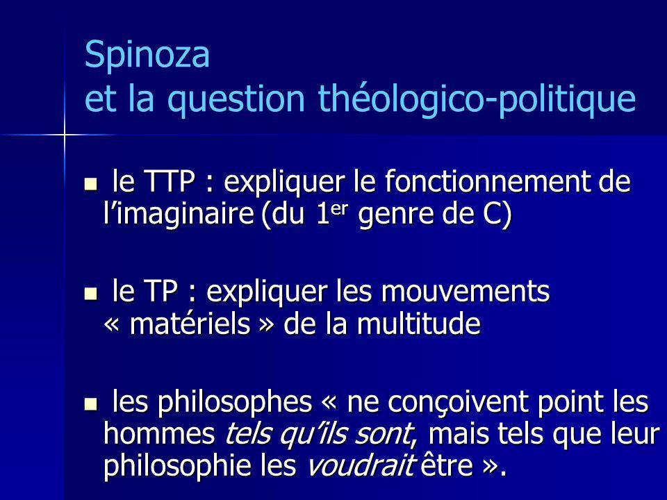 Spinoza et la question théologico-politique le TTP : expliquer le fonctionnement de limaginaire (du 1 er genre de C) le TTP : expliquer le fonctionnem