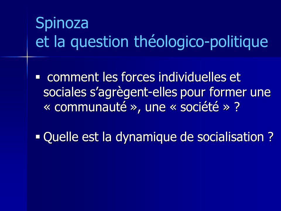Spinoza et la question théologico-politique comment les forces individuelles et sociales sagrègent-elles pour former une « communauté », une « société