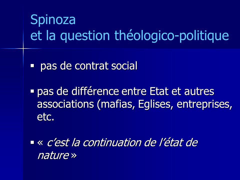 Spinoza et la question théologico-politique pas de contrat social pas de contrat social pas de différence entre Etat et autres associations (mafias, E