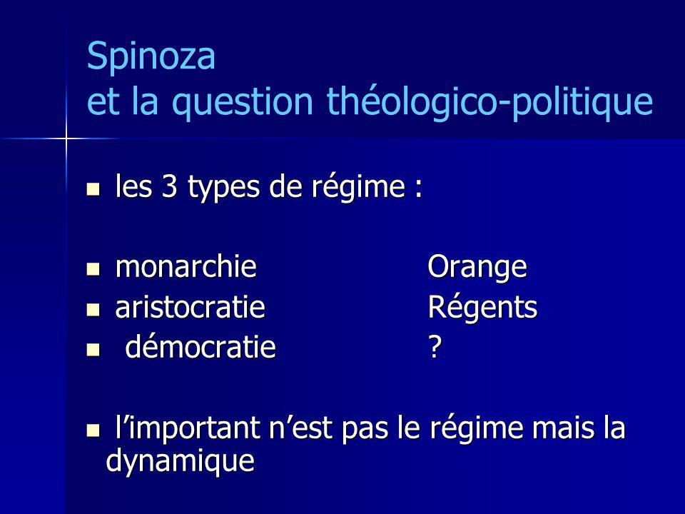 Spinoza et la question théologico-politique les 3 types de régime : les 3 types de régime : monarchie Orange monarchie Orange aristocratie Régents ari