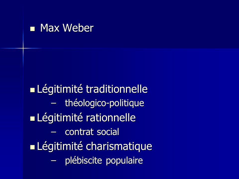Max Weber Max Weber Légitimité traditionnelle Légitimité traditionnelle –théologico-politique Légitimité rationnelle Légitimité rationnelle –contrat s