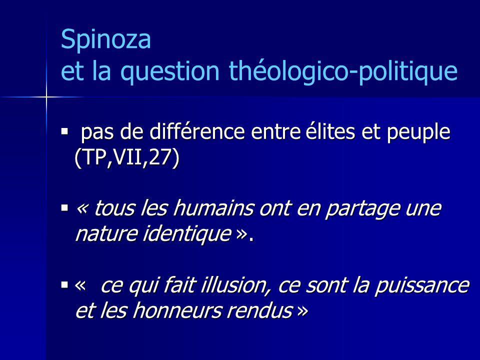 Spinoza et la question théologico-politique pas de différence entre élites et peuple (TP,VII,27) pas de différence entre élites et peuple (TP,VII,27)