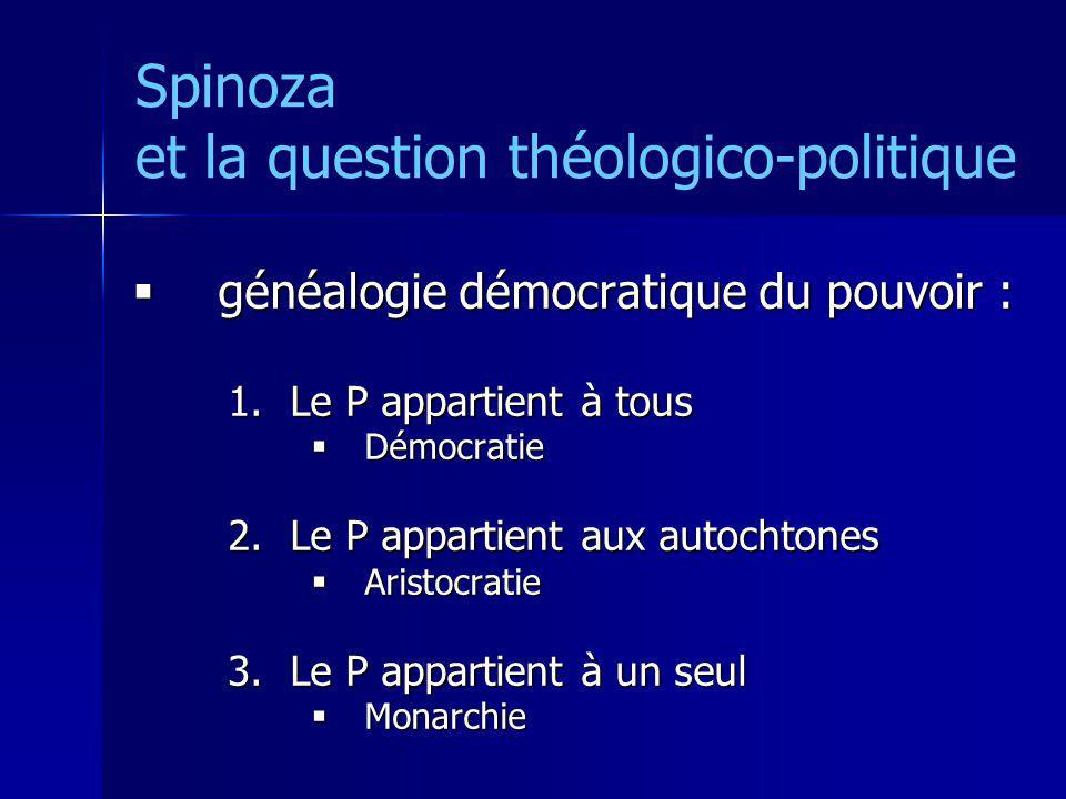 Spinoza et la question théologico-politique généalogie démocratique du pouvoir : généalogie démocratique du pouvoir : 1.Le P appartient à tous Démocra