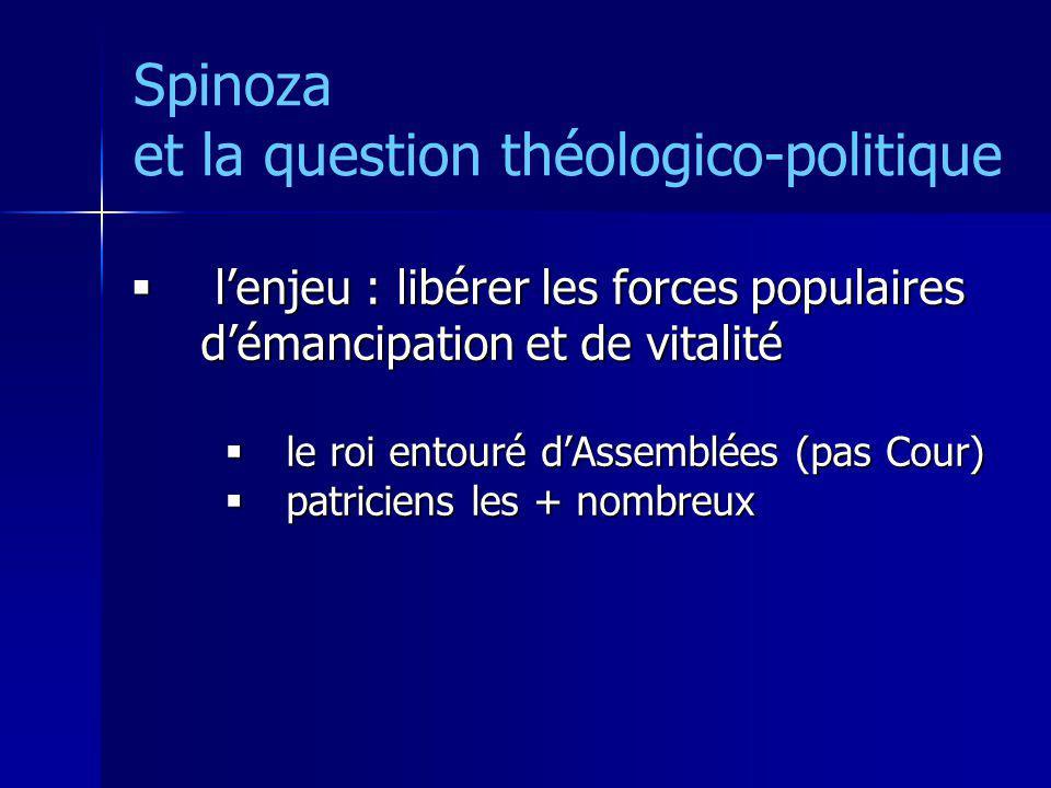 Spinoza et la question théologico-politique lenjeu : libérer les forces populaires démancipation et de vitalité lenjeu : libérer les forces populaires