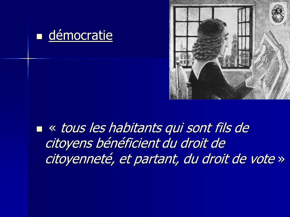 démocratie démocratie « tous les habitants qui sont fils de citoyens bénéficient du droit de citoyenneté, et partant, du droit de vote » « tous les ha
