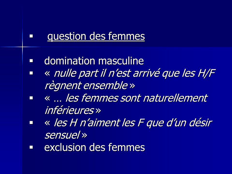 question des femmes question des femmes domination masculine domination masculine « nulle part il nest arrivé que les H/F règnent ensemble » « nulle p