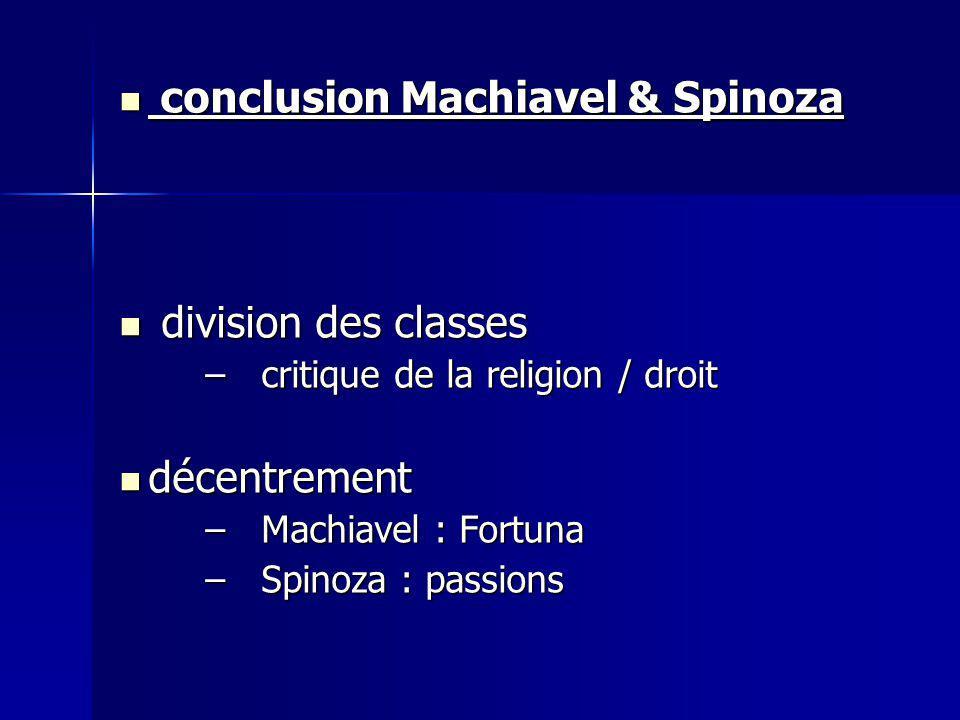 conclusion Machiavel & Spinoza conclusion Machiavel & Spinoza division des classes division des classes –critique de la religion / droit décentrement