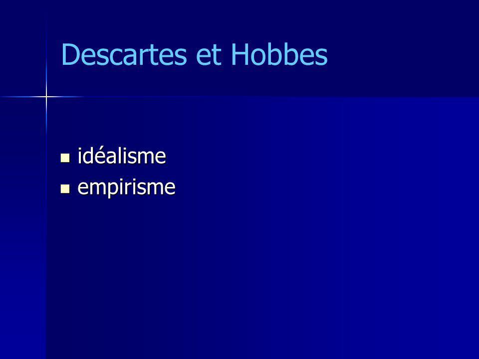Etat = lui-même dans létat de nature Etat = lui-même dans létat de nature –délinquants, terroristes –autres Etats à la x machine et monstre à la x machine et monstre « terroriser les terroristes » « terroriser les terroristes » Descartes et Hobbes