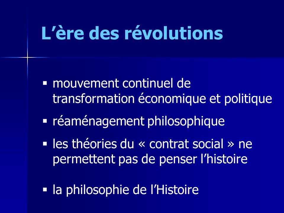 Lère des révolutions mouvement continuel de transformation économique et politique réaménagement philosophique les théories du « contrat social » ne p