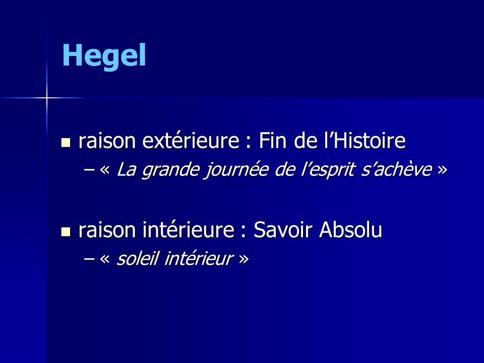 Hegel raison extérieure : Fin de lHistoire raison extérieure : Fin de lHistoire –« La grande journée de lesprit sachève » raison intérieure : Savoir A