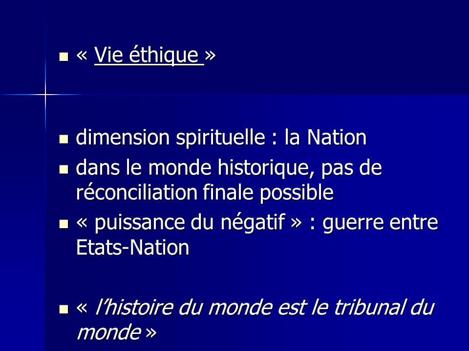 « Vie éthique » « Vie éthique » dimension spirituelle : la Nation dimension spirituelle : la Nation dans le monde historique, pas de réconciliation fi