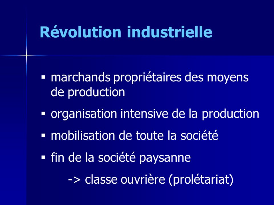marchands propriétaires des moyens de production organisation intensive de la production mobilisation de toute la société fin de la société paysanne -