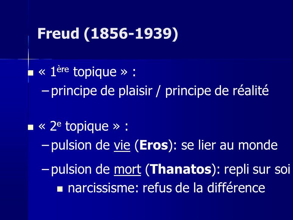 « 1 ère topique » : –principe de plaisir / principe de réalité « 2 e topique » : –pulsion de vie (Eros): se lier au monde –pulsion de mort (Thanatos): repli sur soi narcissisme: refus de la différence Freud (1856-1939)