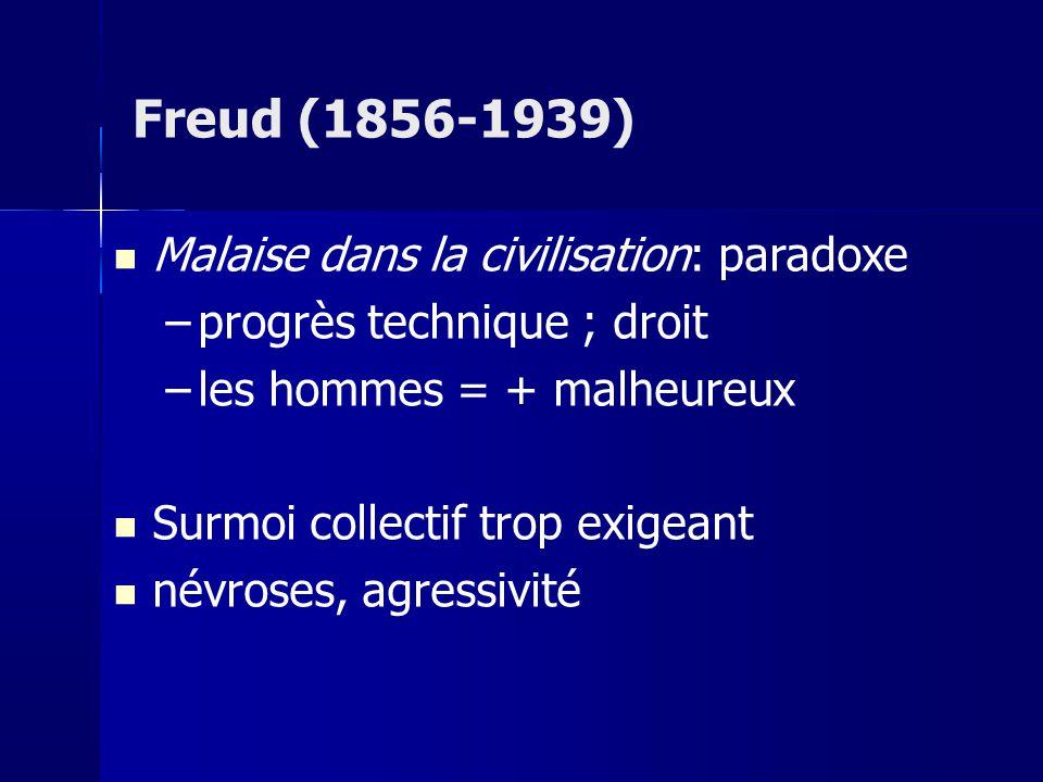 Malaise dans la civilisation: paradoxe –progrès technique ; droit –les hommes = + malheureux Surmoi collectif trop exigeant névroses, agressivité Freud (1856-1939)