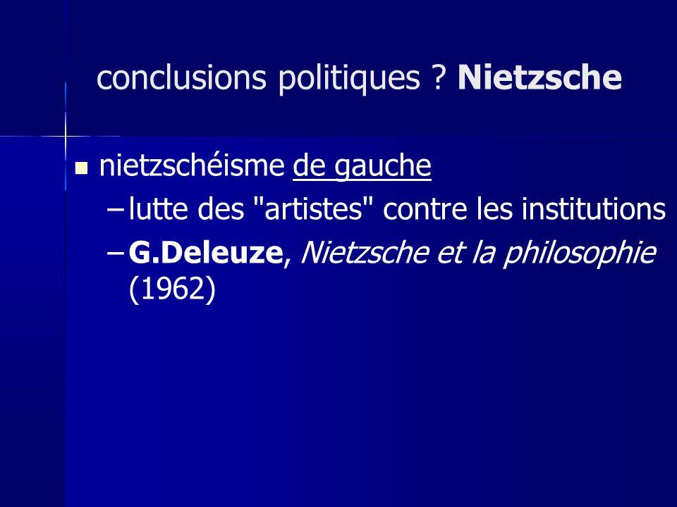 nietzschéisme de gauche –lutte des artistes contre les institutions –G.Deleuze, Nietzsche et la philosophie (1962) conclusions politiques .