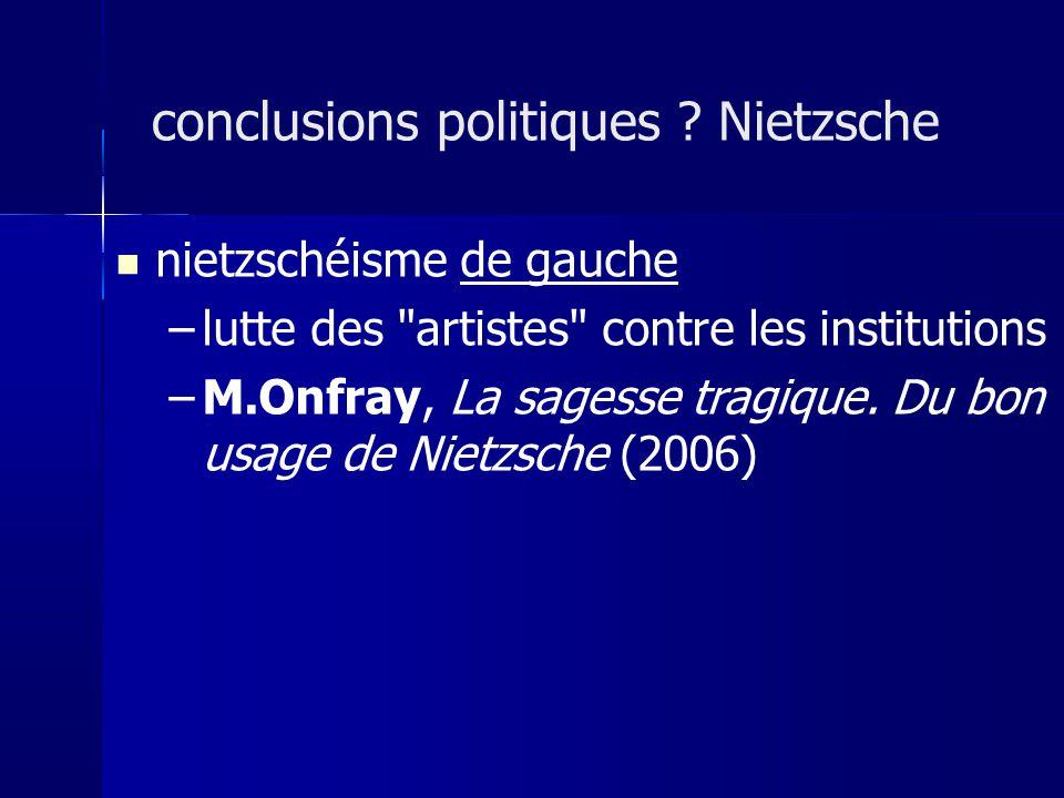 nietzschéisme de gauche –lutte des artistes contre les institutions –M.Onfray, La sagesse tragique.