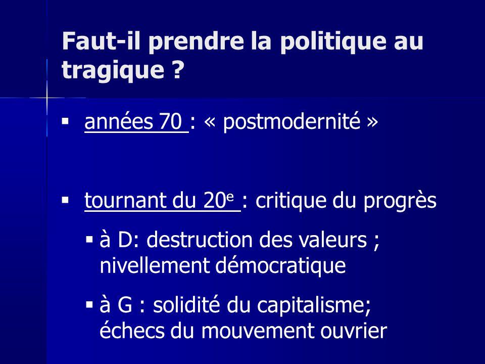 années 70 : « postmodernité » tournant du 20 e : critique du progrès à D: destruction des valeurs ; nivellement démocratique à G : solidité du capitalisme; échecs du mouvement ouvrier Faut-il prendre la politique au tragique ?