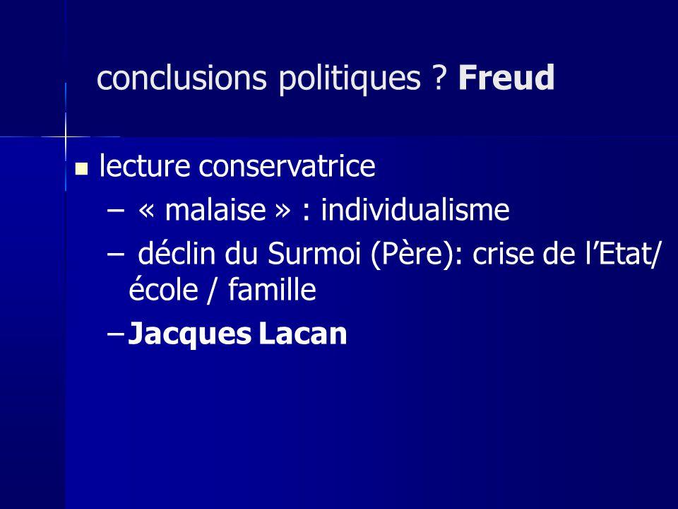 lecture conservatrice – « malaise » : individualisme – déclin du Surmoi (Père): crise de lEtat/ école / famille –Jacques Lacan conclusions politiques .