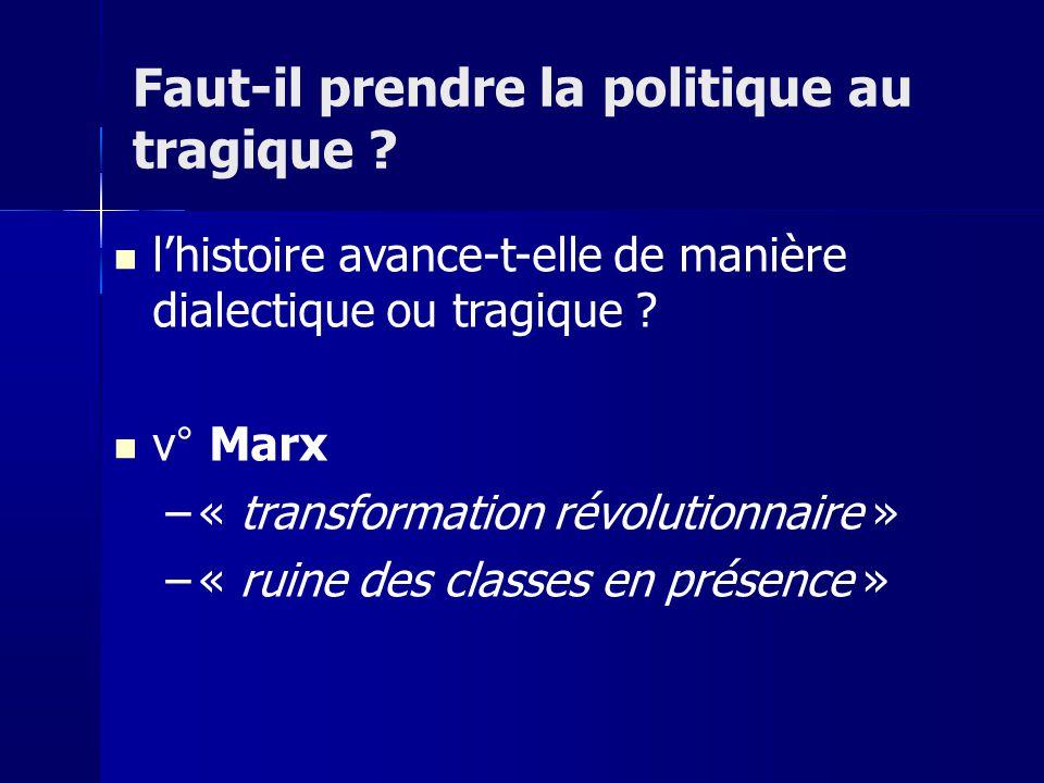 lhistoire avance-t-elle de manière dialectique ou tragique ? v° Marx –« transformation révolutionnaire » –« ruine des classes en présence » Faut-il pr