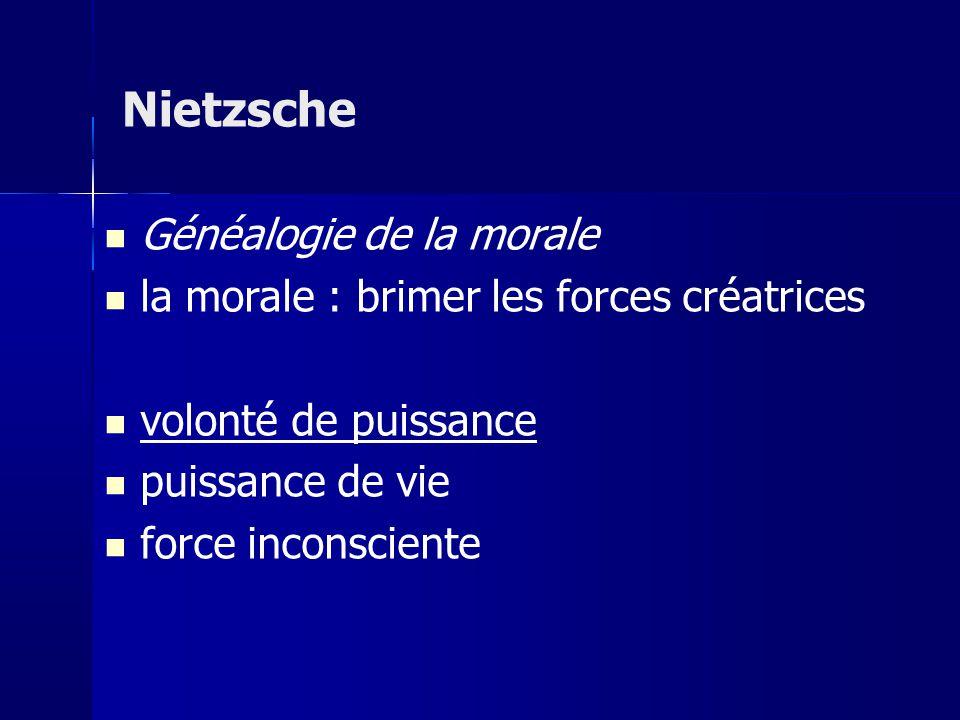 Généalogie de la morale la morale : brimer les forces créatrices volonté de puissance puissance de vie force inconsciente Nietzsche