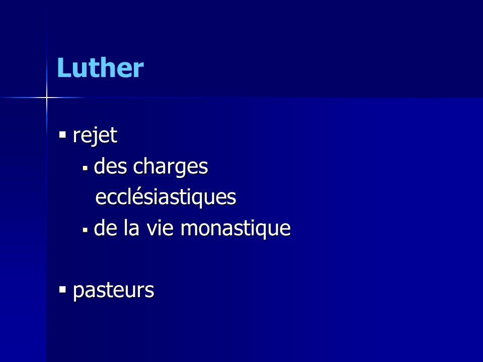 rejet rejet des charges des charges ecclésiastiques ecclésiastiques de la vie monastique de la vie monastique pasteurs pasteurs Luther