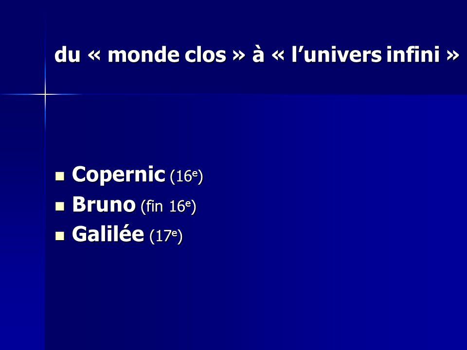 du « monde clos » à « lunivers infini » Copernic (16 e ) Copernic (16 e ) Bruno (fin 16 e ) Bruno (fin 16 e ) Galilée (17 e ) Galilée (17 e )