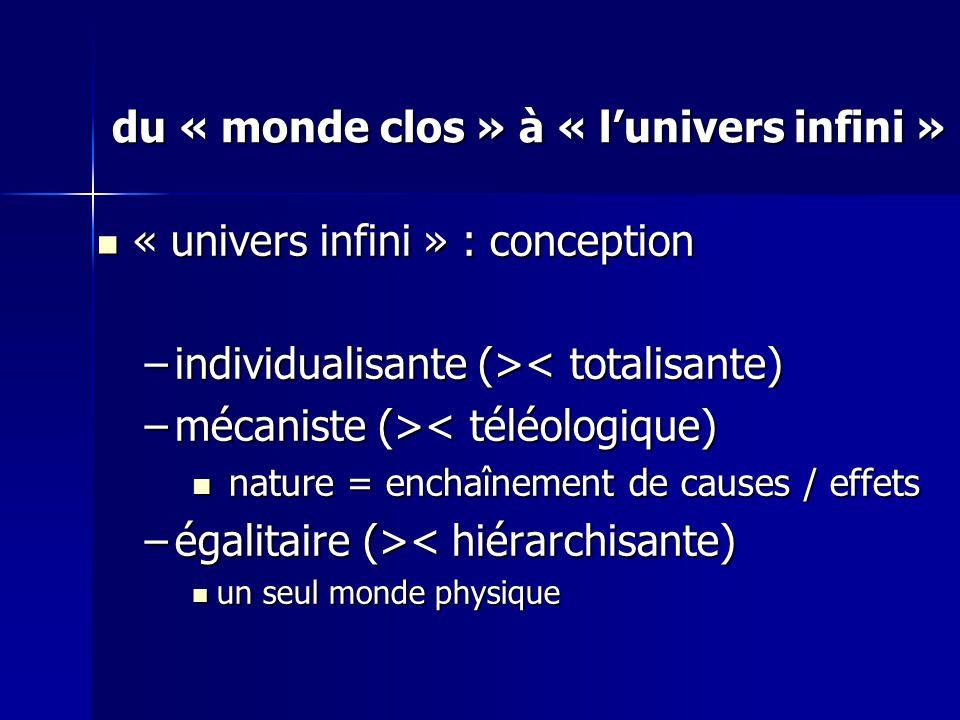 « univers infini » : conception « univers infini » : conception –individualisante (> < totalisante) –mécaniste (> < téléologique) nature = enchaînement de causes / effets nature = enchaînement de causes / effets –égalitaire (> < hiérarchisante) un seul monde physique un seul monde physique du « monde clos » à « lunivers infini »