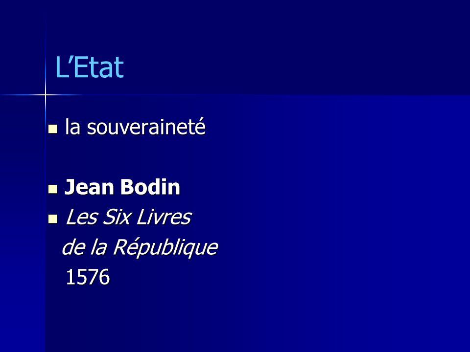 la souveraineté la souveraineté Jean Bodin Jean Bodin Les Six Livres Les Six Livres de la République de la République1576 LEtat